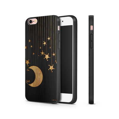 Black Bamboo - Moon and Stars - Milkyway Cases -  iPhone - Samsung - Clear Cut Silicone Phone Case Cover