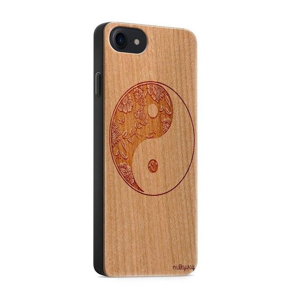 Wood  - Floral Yin Yang - Milkyway Cases -  iPhone - Samsung - Clear Cute Silicone Phone Case Cover