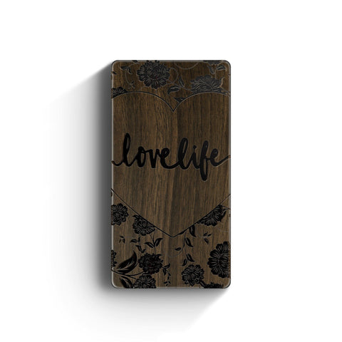 Walnut Power Bank Charger - Love Life