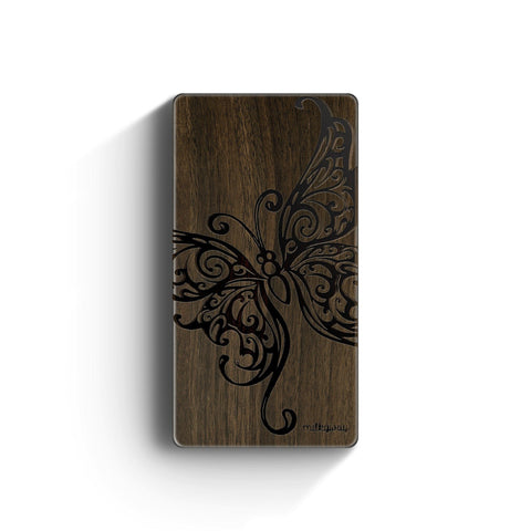 Walnut Power Bank Charger - Butterfly