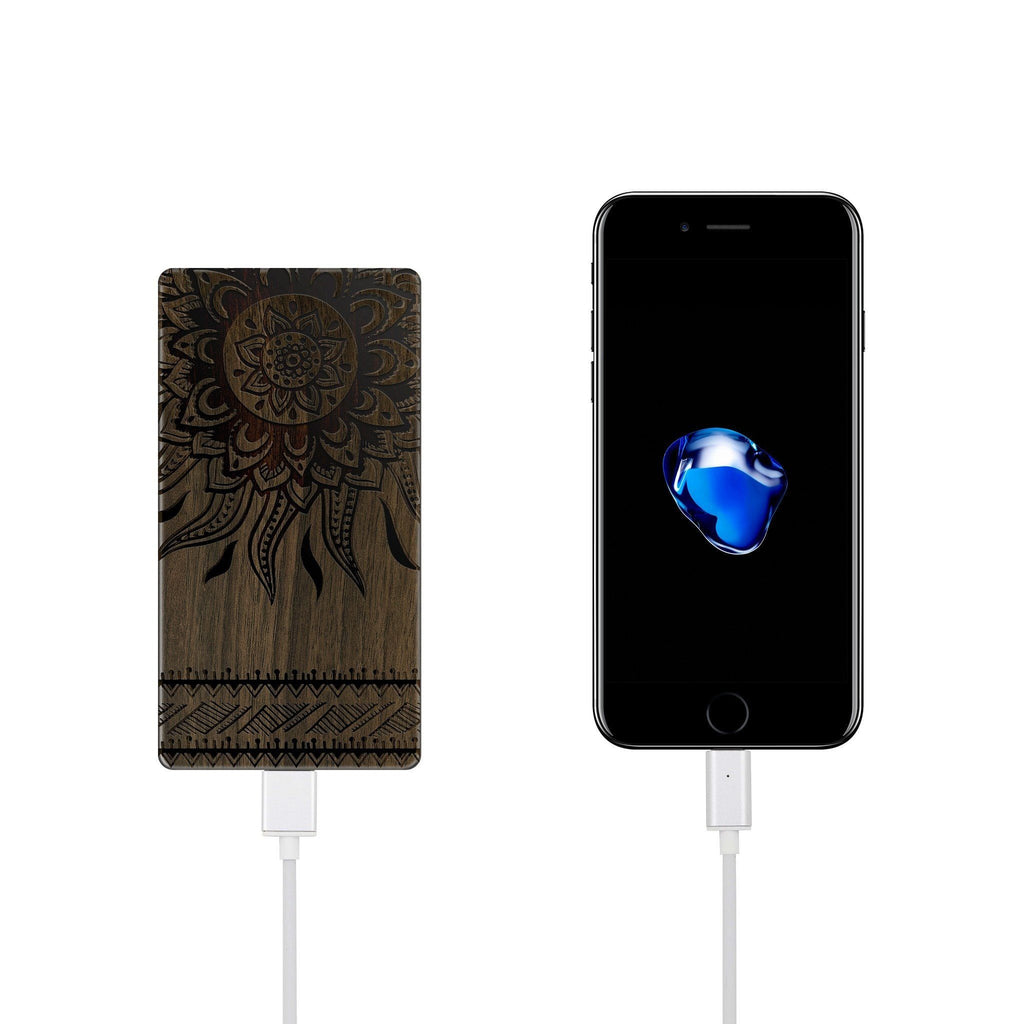 Walnut Power Bank Charger - Aztec Sun
