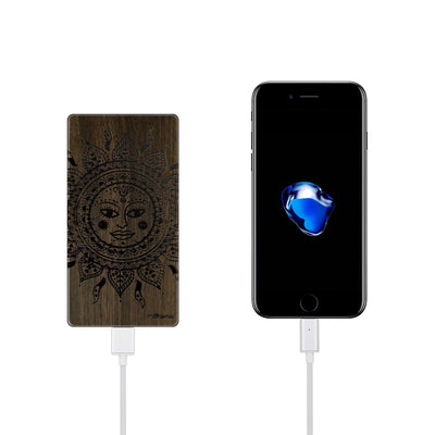 Walnut Power Bank Charger - Ethnic Tribal Sun - Milkyway Cases -  iPhone - Samsung - Clear Cute Silicone Phone Case Cover