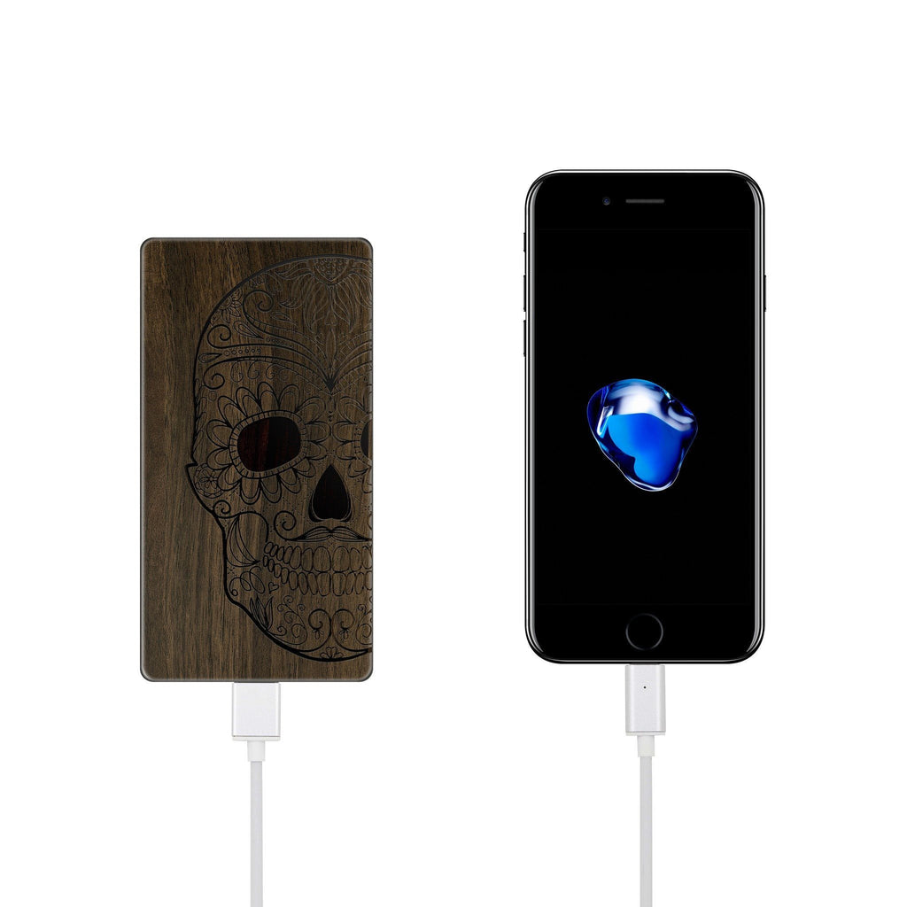 Walnut Power Bank Charger - Half Sugar Skull