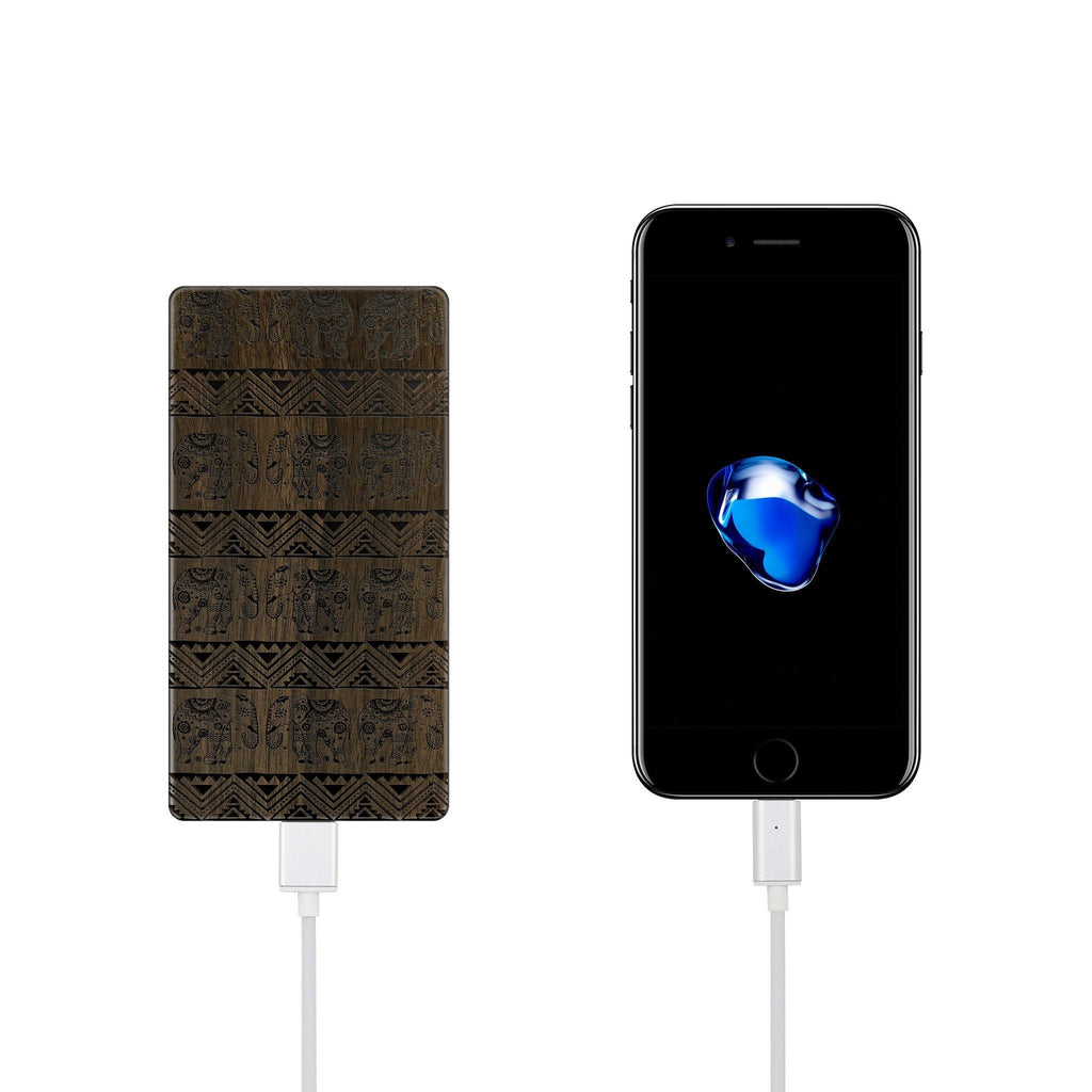 Walnut Power Bank Charger - Aztec Lotus Elephant