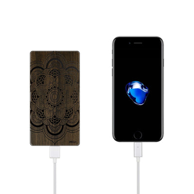 Walnut Power Bank Charger - Full Mandala - Milkyway Cases -  iPhone - Samsung - Clear Cut Silicone Phone Case Cover
