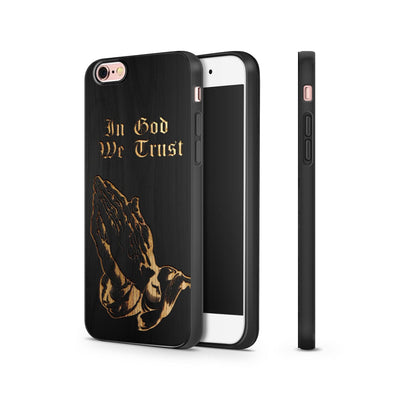 Black Bamboo - In God We Trust / Praying Hands - Milkyway Cases -  iPhone - Samsung - Clear Cut Silicone Phone Case Cover