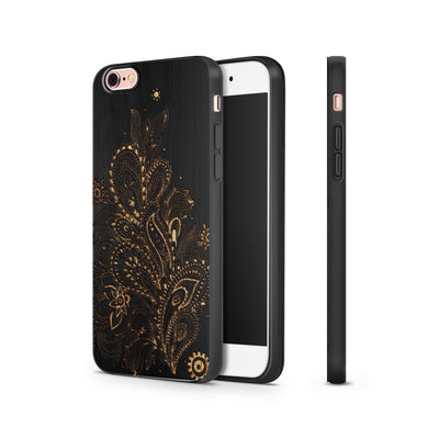 Black Bamboo - Abstract Floral Pattern - Milkyway Cases -  iPhone - Samsung - Clear Cut Silicone Phone Case Cover