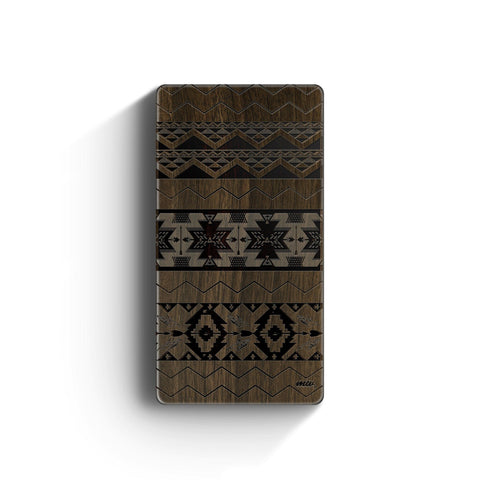 Walnut Power Bank Charger - Mixed Up Aztec