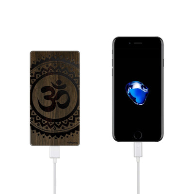 Walnut Power Bank Charger - Ohm Mandala - Milkyway Cases -  iPhone - Samsung - Clear Cut Silicone Phone Case Cover