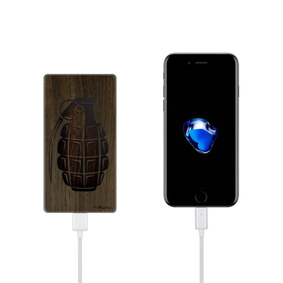 Walnut Power Bank Charger - Grenade - Milkyway Cases -  iPhone - Samsung - Clear Cut Silicone Phone Case Cover