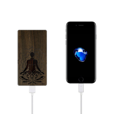 Walnut Power Bank Charger - Meditating Buddha - Milkyway Cases -  iPhone - Samsung - Clear Cut Silicone Phone Case Cover