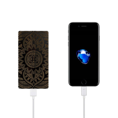 Walnut Power Bank Charger - Anshi Mandala - Milkyway Cases -  iPhone - Samsung - Clear Cut Silicone Phone Case Cover