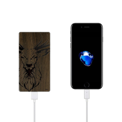 Walnut Power Bank Charger - Stag - Milkyway Cases -  iPhone - Samsung - Clear Cut Silicone Phone Case Cover