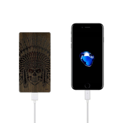 Walnut Power Bank Charger - Tomahawk Skull - Milkyway Cases -  iPhone - Samsung - Clear Cut Silicone Phone Case Cover