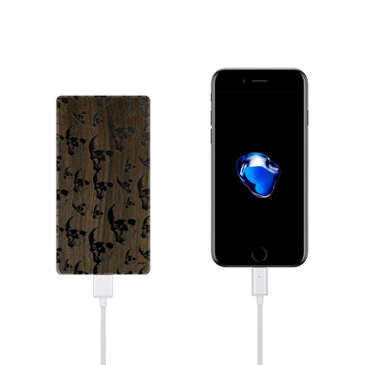 Walnut Power Bank Charger - Seamless Skull - Milkyway Cases -  iPhone - Samsung - Clear Cut Silicone Phone Case Cover