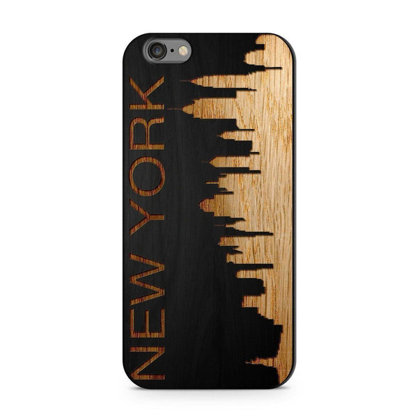 Wood  - New York Skyline Milkyway iPhone Samsung Clear Cute Silicone 8 Plus 7 X Cover