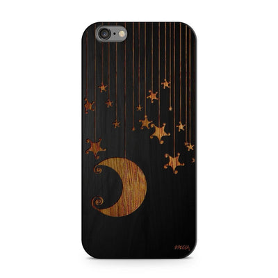 Wood  - Moon and Stars Milkyway iPhone Samsung Clear Cute Silicone 8 Plus 7 X Cover