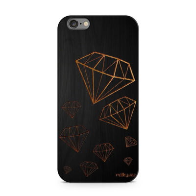 Black Bamboo - Diamond Life - Milkyway Cases -  iPhone - Samsung - Clear Cut Silicone Phone Case Cover
