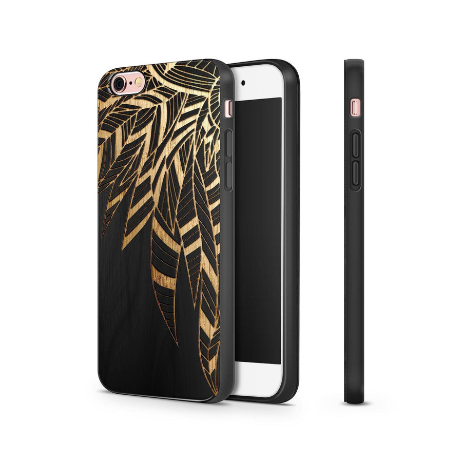 Black Bamboo - Abstract Feather - Milkyway Cases -  iPhone - Samsung - Clear Cut Silicone Phone Case Cover