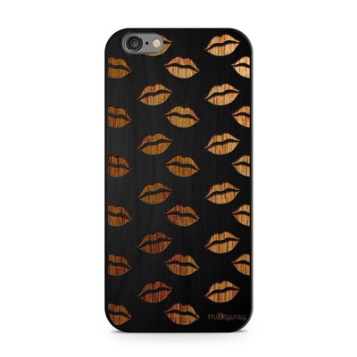 Wood  - Lips Galore Milkyway iPhone Samsung Clear Cute Silicone 8 Plus 7 X Cover
