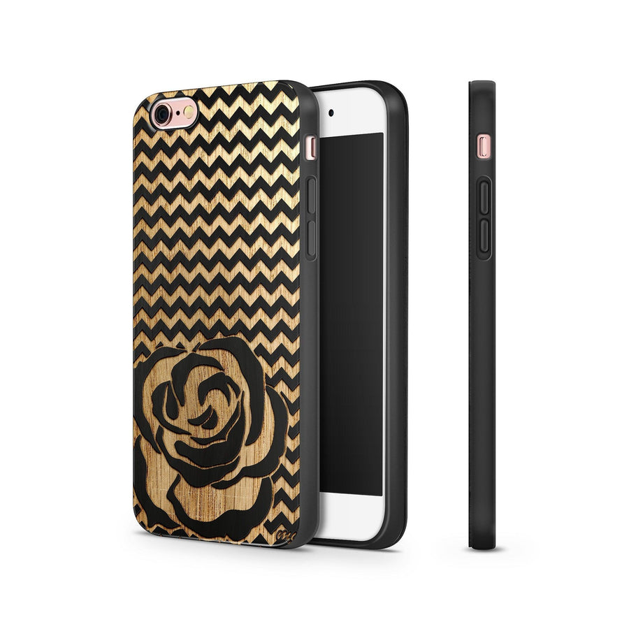 Black Bamboo - Chevron Rose - Milkyway Cases -  iPhone - Samsung - Clear Cut Silicone Phone Case Cover