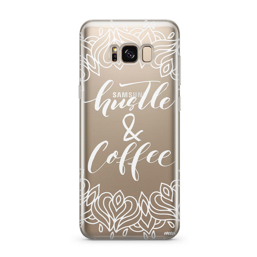 Hustle and Coffee - Clear Case Cover for Samsung Milkyway iPhone Samsung Clear Cute Silicone 8 Plus 7 X Cover