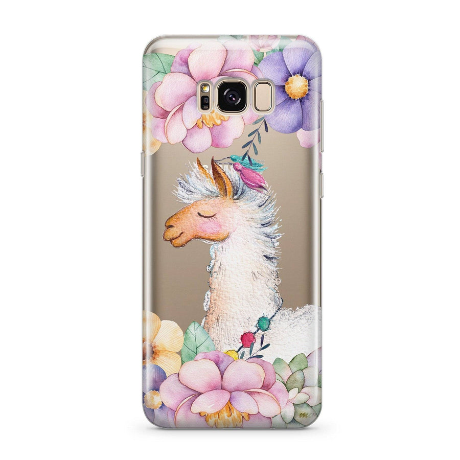 Floral Llama - Clear Case Cover for Samsung - Milkyway Cases -  iPhone - Samsung - Clear Cut Silicone Phone Case Cover