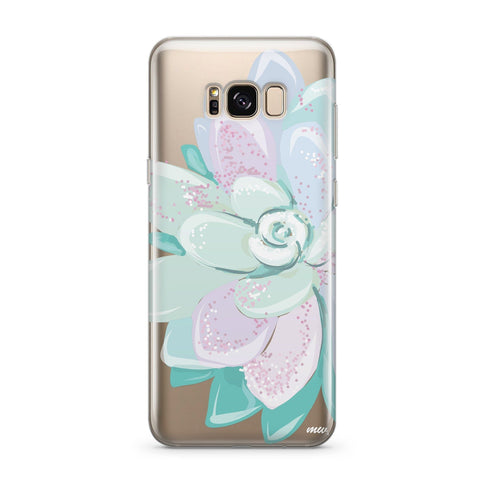 'Cactus Blue'  - Clear TPU Case Cover