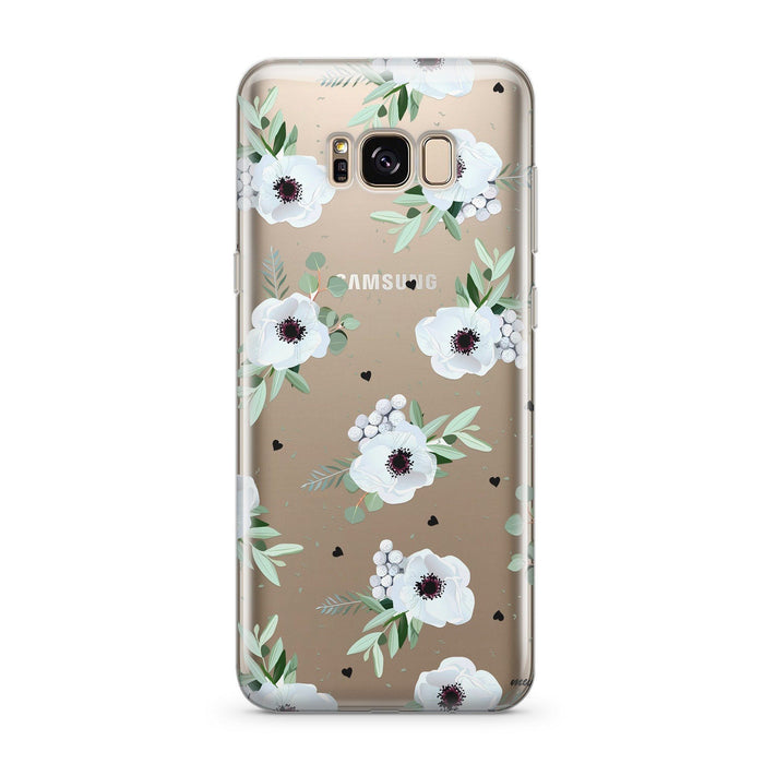 White Blossom - Clear Case Cover for Samsung
