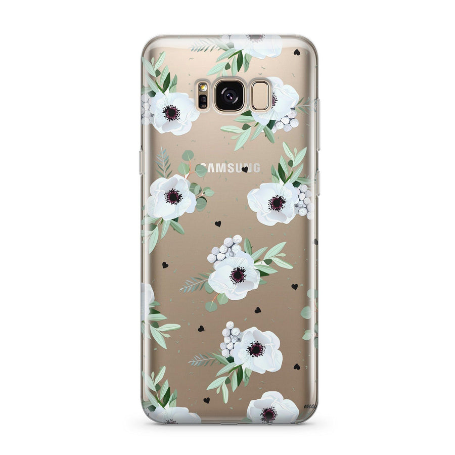 White Blossom - Clear Case Cover for Samsung - Milkyway Cases -  iPhone - Samsung - Clear Cut Silicone Phone Case Cover