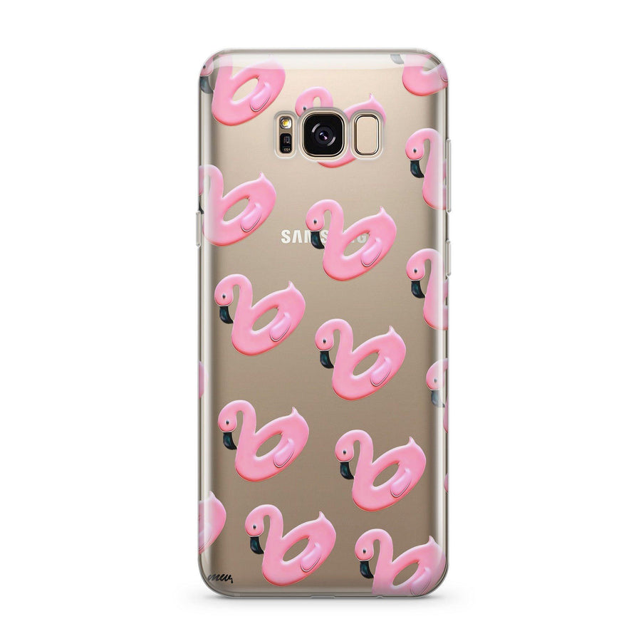 Flamingo Floaties - Clear Case Cover for Samsung