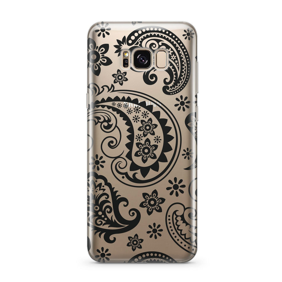 Black Paisley - Clear Case Cover for Samsung - Milkyway Cases -  iPhone - Samsung - Clear Cut Silicone Phone Case Cover