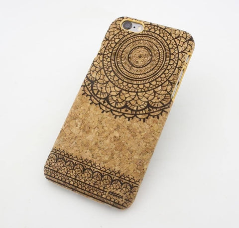 "Cork Case Snap On Cover - ""Sun Lace Mandala"" tribal vintage mayan aztec floral"
