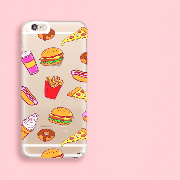 """CLEARANCE"" iPhone 6 Clear Case Cover - Fast Food - Milkyway Cases -  iPhone - Samsung - Clear Cut Silicone Phone Case Cover"