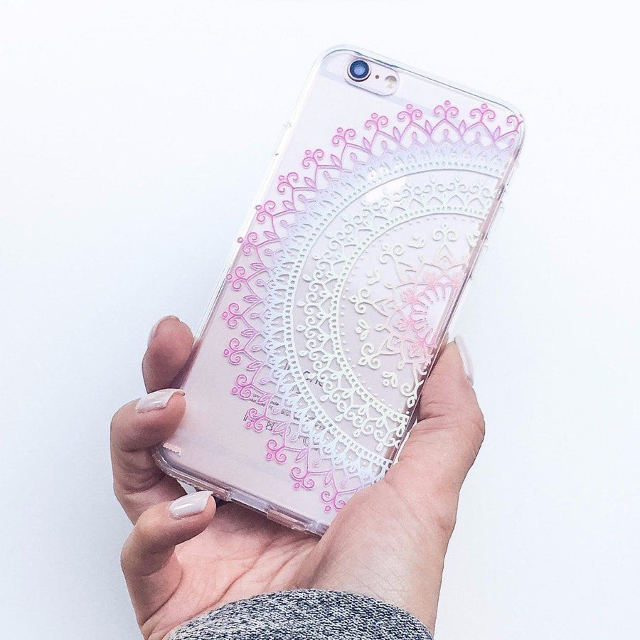 """CLEARANCE"" iPhone 6 Clear Case Cover - Cotton Candy Mandala"