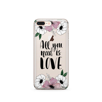 All You Need Is Love (Floral) - Clear TPU Case Cover - Milkyway Cases -  iPhone - Samsung - Clear Cut Silicone Phone Case Cover