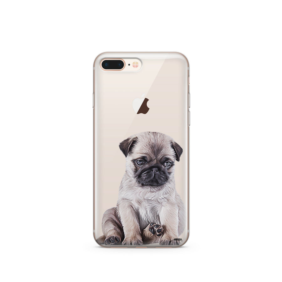 Baby Pug - Clear TPU Case Cover - Milkyway Cases -  iPhone - Samsung - Clear Cut Silicone Phone Case Cover