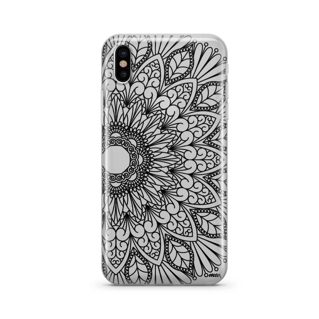 Black Mandala - Clear TPU Case Cover