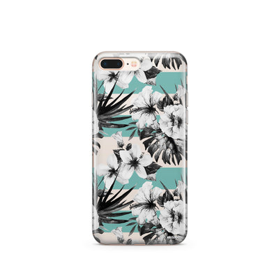 Black and White Floral - Clear TPU Case Cover - Milkyway Cases -  iPhone - Samsung - Clear Cut Silicone Phone Case Cover