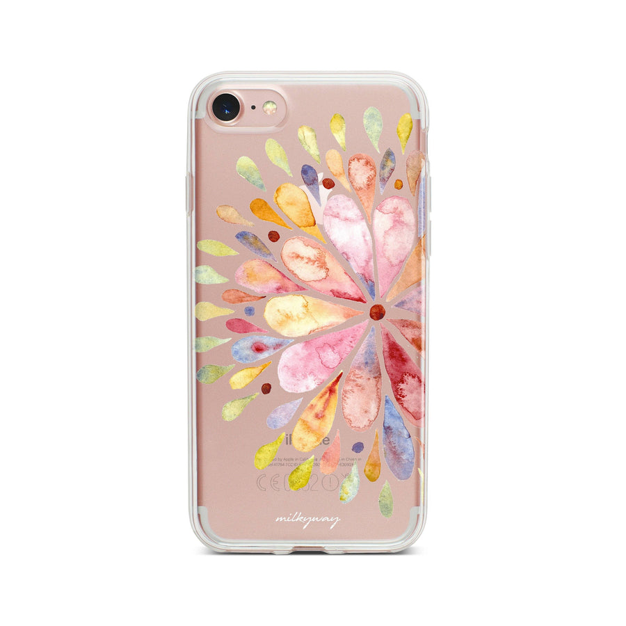 Blissful Mandala - Clear TPU Case Cover Milkyway iPhone Samsung Clear Cute Silicone 8 Plus 7 X Cover