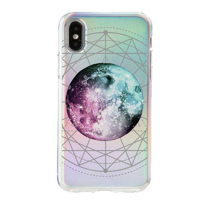 Holographic iPhone Case Cover - Blue Purple Moon