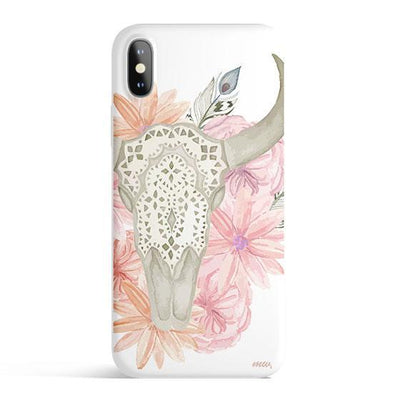 Boho Floral Skull - Colored Candy Cases Matte TPU iPhone Cover