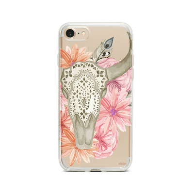 Boho Floral Bull Skull - Clear TPU Case Cover Milkyway iPhone Samsung Clear Cute Silicone 8 Plus 7 X Cover
