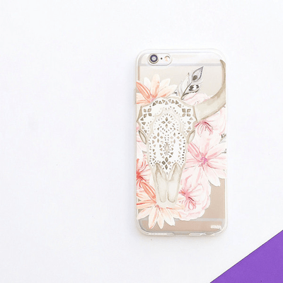 Boho Floral Bull Skull - Clear TPU Case Cover - Milkyway Cases -  iPhone - Samsung - Clear Cut Silicone Phone Case Cover