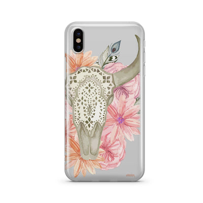 Boho Floral Bull Skull Clear TPU Case - Clear Cut Silicone iPhone Cover - Milkyway Cases
