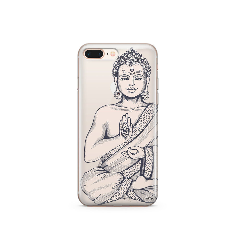 Buddha Hamsa - Clear TPU Case Cover - Milkyway Cases -  iPhone - Samsung - Clear Cut Silicone Phone Case Cover