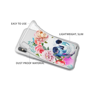 Colored Floral Skull iPhone X Case Clear