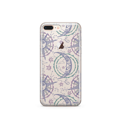 Henna Crescent Sun And Moon - Clear TPU Case Cover Milkyway iPhone Samsung Clear Cute Silicone 8 Plus 7 X Cover