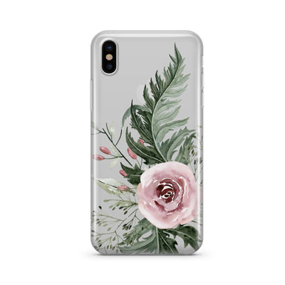 Dusty Pink Rose - Clear TPU - iPhone Case