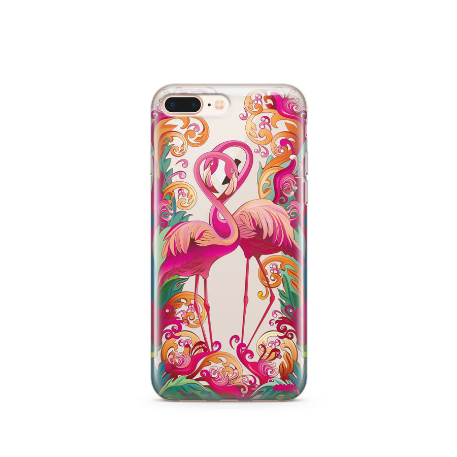 Flaming Flamingo - Clear TPU Case Cover - Milkyway Cases -  iPhone - Samsung - Clear Cut Silicone Phone Case Cover